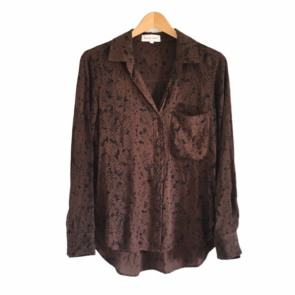 Bella Dahl Brown Snake Print Button Down Shirt